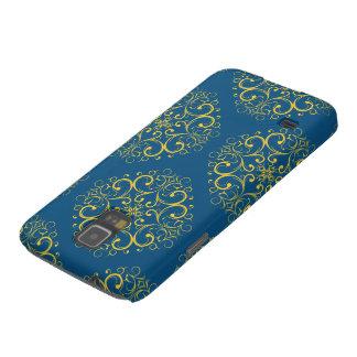 dark blue floral ornament samsung galaxy S5 Galaxy S5 Cases