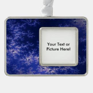 Dark Blue Fractal Silver Plated Framed Ornament