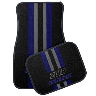 Dark Blue, Grey And Black Race Double Stripes Car Mat