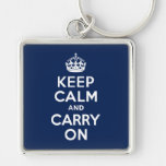Dark Blue Keep Calm and Carry On Keychain