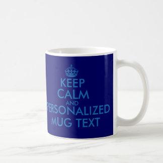 Dark blue KeepCalm Mugs | Personalizable template
