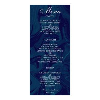 Dark Blue Marble Watercolor Wedding Menu 10 Cm X 23 Cm Rack Card