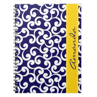 Dark Blue Monogrammed Elements Print Spiral Notebook