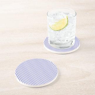 Dark Blue White Pinstripe Sandstone Coaster