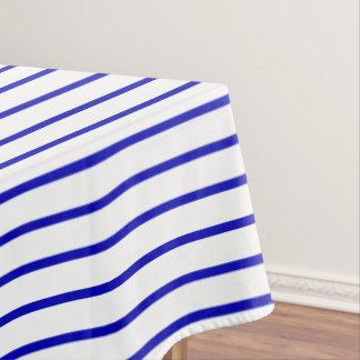 Dark Blue White Pinstripe Tablecloth
