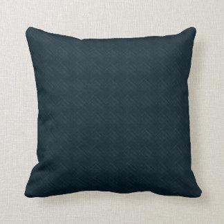 Dark Blue With Checkered Pinstripe Throw Cushions