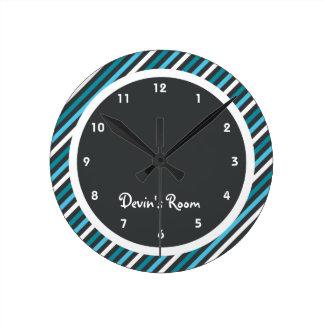 Dark Blues Stripe Kid's Bedroom Round Clock