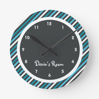Dark Blues Stripe Kid's Bedroom Wall Clock