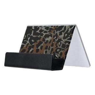 Dark Brown Black Cheetah Abstract Desk Business Card Holder