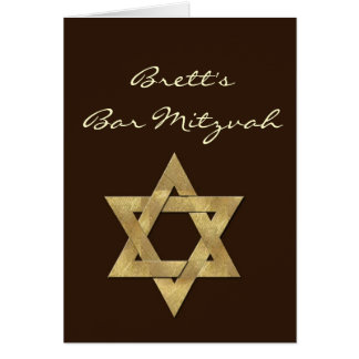 Dark Brown Custom Bar Mitzvah Invitation Greeting Card