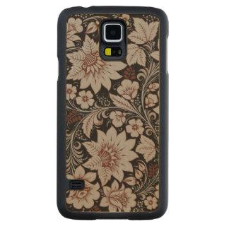 Dark Brown Floral Pattern Maple Galaxy S5 Case