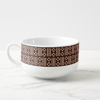 Dark Brown MudCloth Inspired Tile Tiling Cross Soup Bowl With Handle