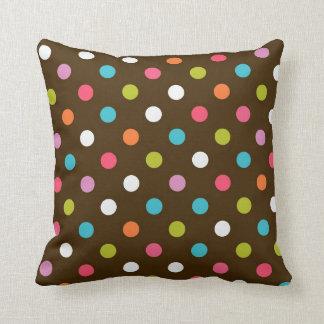 Dark Brown Multicolor Polka Dot Throw Pillow