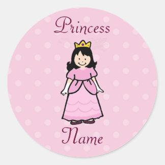 Dark Brunette Princess Stickers