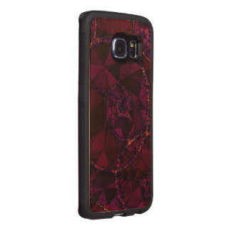 Dark Burgundy Bling Abstract Wood Phone Case