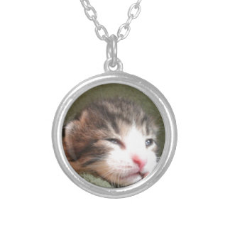 Dark Calico Kitten Silver Plated Necklace