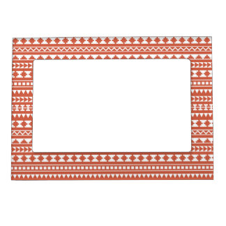 Dark Coral Tribal Aztec Pattern Magnetic Picture Frame
