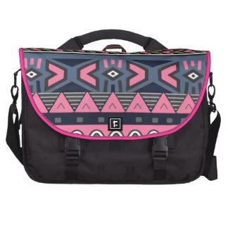 Dark Cyan and Pink Colored Aztec Laptop Computer Bag