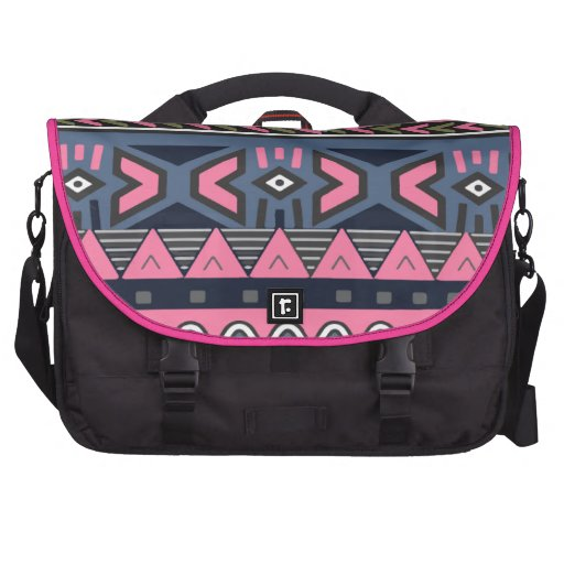 Dark Cyan and Pink Colored Aztec Laptop Computer Bag