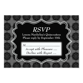 Dark Fancy Pattern Black and Gray Quinceanera Card