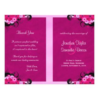 Dark Fuchsia Floral Wedding Program Templates 21.5 Cm X 28 Cm Flyer