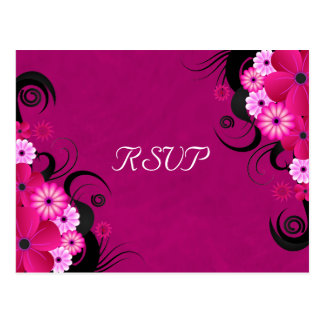 Dark Fuchsia Floral Wedding RSVP Reply Cards