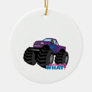Dark Girl Driving Purple Monster Truck Christmas Ornament