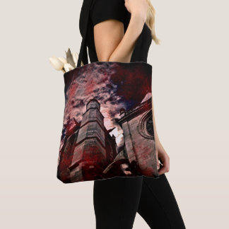 Dark Gothic cathedral with blood splatters Tote Bag