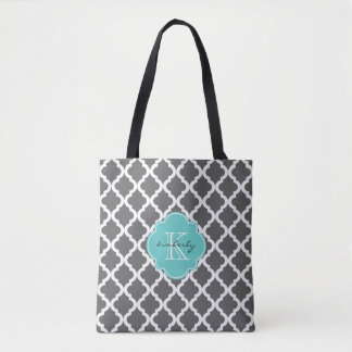 Dark Gray and Aqua Moroccan Quatrefoil Monogam Tote Bag