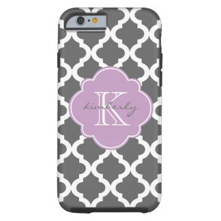 Dark Gray and Lilac Moroccan Quatrefoil Print Tough iPhone 6 Case