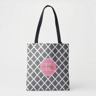 Dark Gray and Pink Moroccan Quatrefoil Monogam Tote Bag
