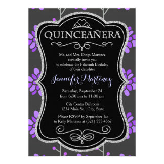 Dark Gray and Violet Purple Retro Flower Floral Invites