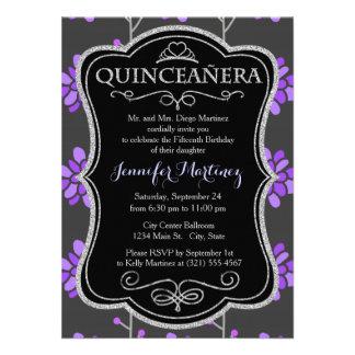 Dark Gray and Violet Purple Retro Flower Floral Invites