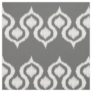 Dark Gray Ikat Tribal Pattern Fabric