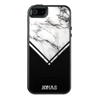 Dark Gray & White Marble Stone And Black Stripes OtterBox iPhone 5/5s/SE Case