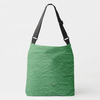 Dark Green Crumbled Paper Texture Background Crossbody Bag
