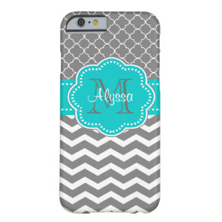 Dark Grey and Blue Chevron Personalised Barely There iPhone 6 Case