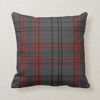 Dark Grey Charcoal Black Red Tartan Plaid Cushion