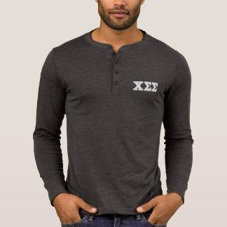 Dark Grey Henley Long Sleeve Shirt - White Letters