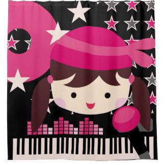 Dark Haired Girl Rock Star Music Karaoke Shower Curtain
