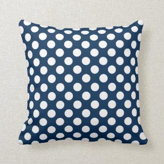 Dark Midnight Blue Polka Dots Throw Pillows
