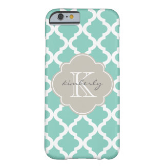 Dark Mint and Linen Moroccan Quatrefoil Print Barely There iPhone 6 Case