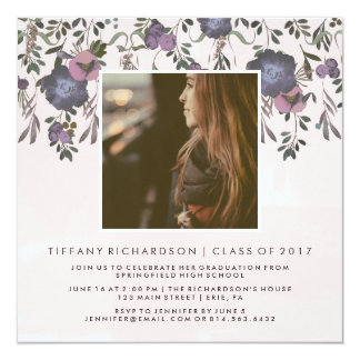 Dark Modern Floral | Photo Graduation Party Card