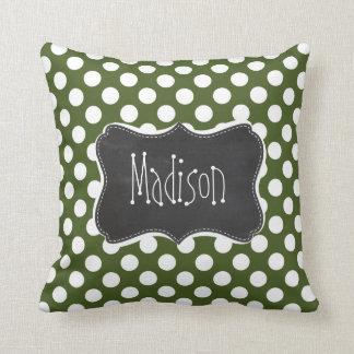 Dark Moss Green Polka Dots Throw Cushion