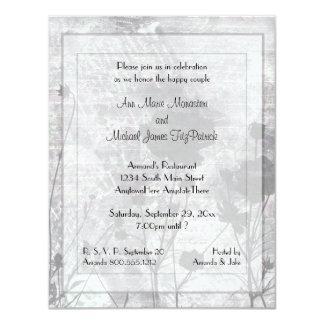 "Dark Night Floral Wedding Shower Invitation 4.25"" X 5.5"" Invitation Card"