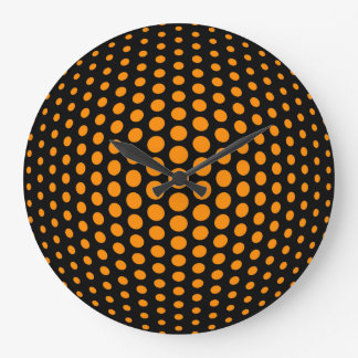 Dark orange Fish Eye Polka Dots Pattern Wallclocks