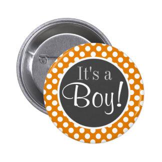 Dark Orange Polka Dots Pinback Button