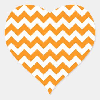 Dark Orange Zigzag Heart Sticker