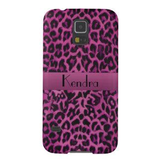 Dark Pink Leopard Personalized Galaxy S5 Case