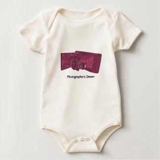 Dark Pink Old Camera Baby Bodysuit